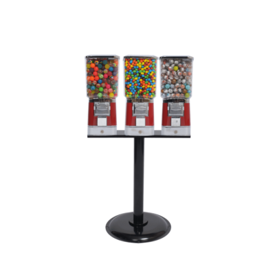 3 single square head machines with cash drawer and stand, candy vending, candy vending machine, vending machine with stand, vending machine