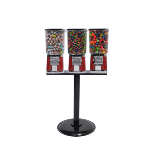 3 single square head machines with stand, candy vending, candy vending machine, vending machine with stand, vending machine