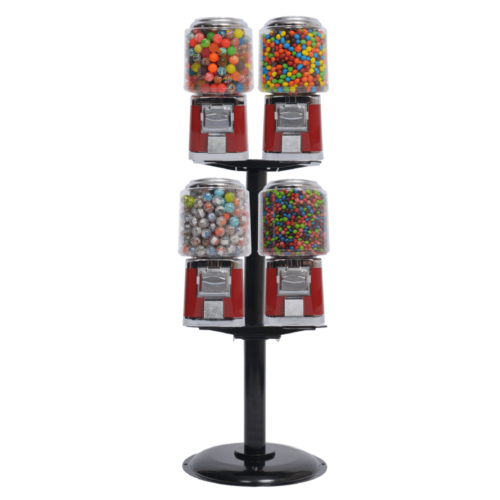4 barrel machine with deluxe L stand, bulk vending machines, candy vending, vend candy, toy vending
