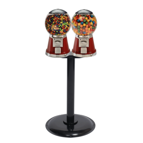 double classic bubble-gum machines and stand, bubble-gum machines, vending machines, classic gumball machines, double head vending machine