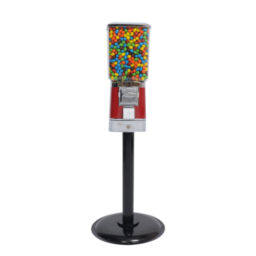 single square head machine and stand, candy vending, vending machine with cash drawer, square head machine, vending machine