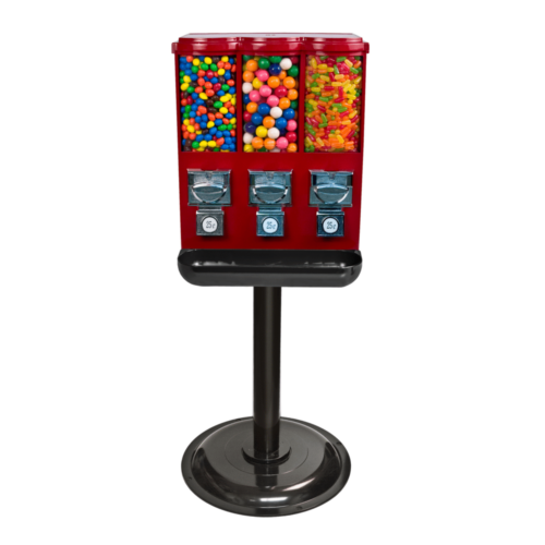triple metal gumball and candy vending machine, candy machine, gumball machine, variety candy vending, gumball and candy vending,